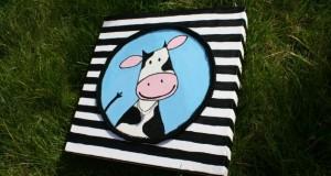 Geboorteschilderij Streepjes koe