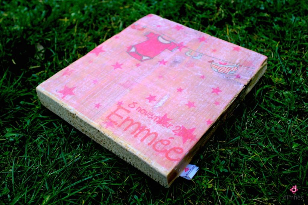 Geboortekaartje op hout - Dimfies